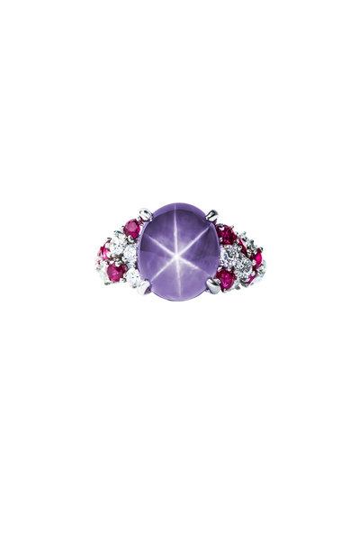 Oscar Heyman - Platinum Violet Star & Pink Sapphire Ring