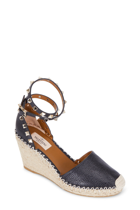 Valentino Rockstud Black Double Ankle Wrap Wedge, 75mm