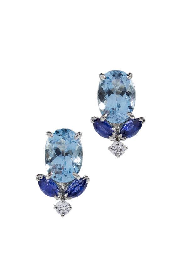Oscar Heyman Platinum Aquamarine, Sapphire & Diamond Earrings