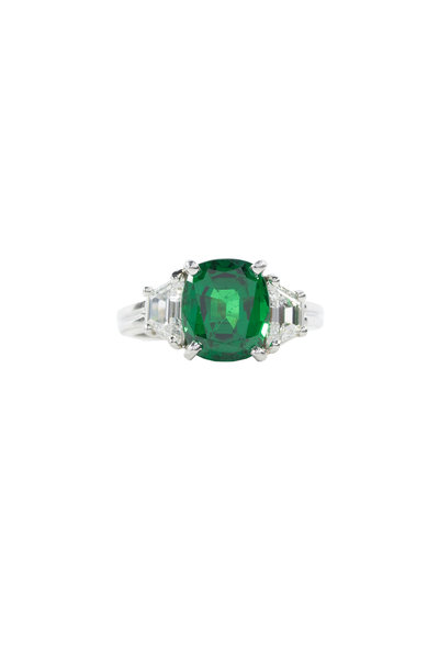 Oscar Heyman - Platinum Tsavorite & Diamond Ring