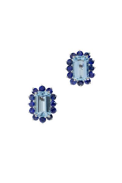 Oscar Heyman - Platinum Aquamarine & Diamond Earrings