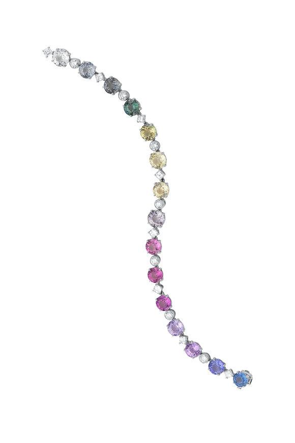Oscar Heyman Platinum Multi Sapphire & Diamond Bracelet