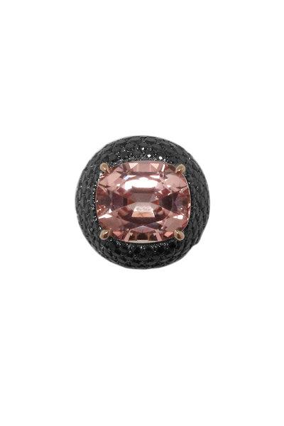 Paolo Costagli - 18K Rose Gold Pink Tourmaline & Black Diamond Ring