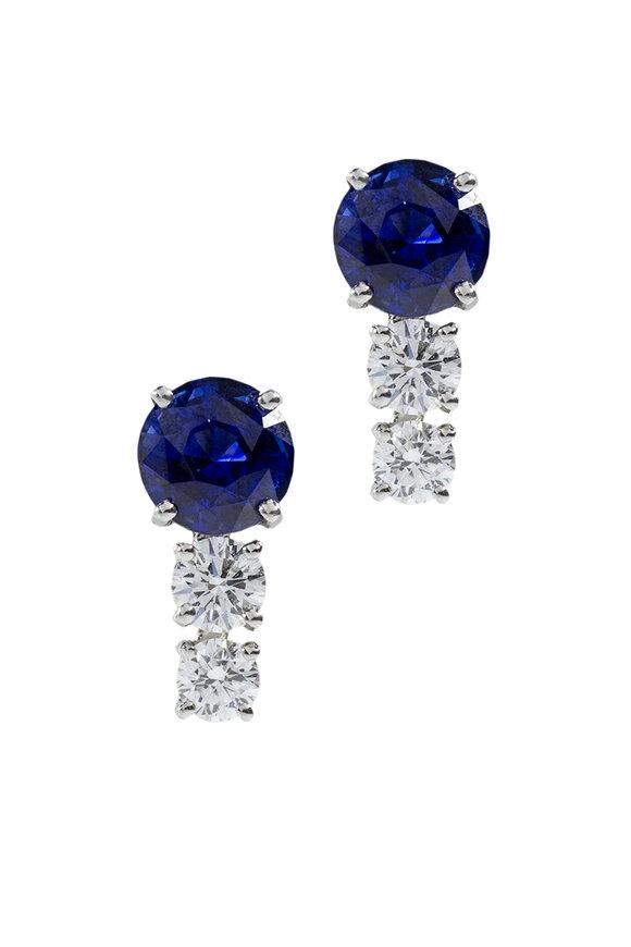 Oscar Heyman Platinum Sapphire & Diamond Drop Earrings