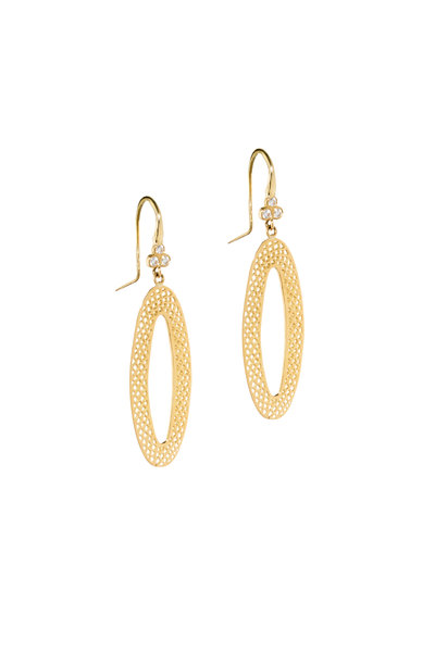 Ray Griffiths - 18K Yellow Gold Crownwork Diamond Earrings