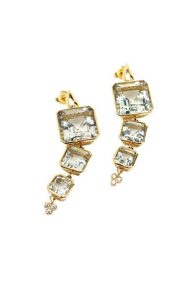 Ray Griffiths - 18K Yellow Gold Amethyst & Diamond Drop Earrings