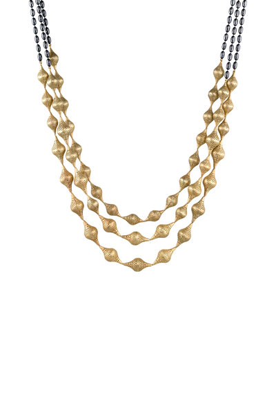 Ray Griffiths - 18K Yellow Gold Graduated Finials Necklace