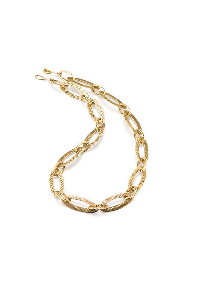 Ray Griffiths - 18K Yellow Gold Crownwork Flat Link Necklace