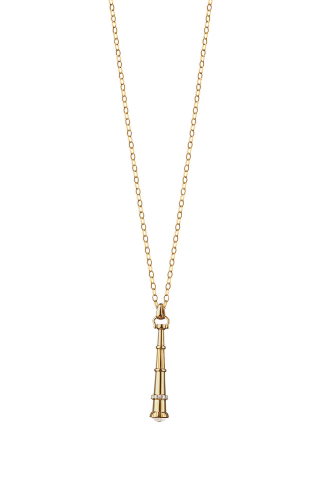 18K Yellow Gold Telescope Charm Necklace