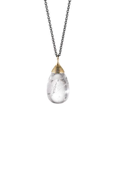 Ray Griffiths - 18K Yellow Gold Quartz Egg Pendant Necklace