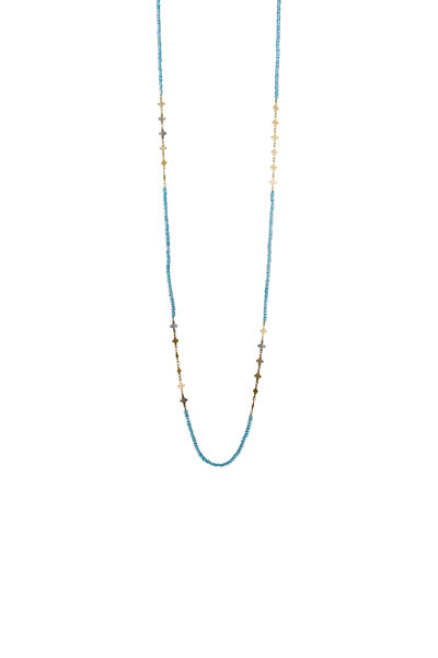 Ray Griffiths - 18K Yellow Gold Blue Topaz Wrap Necklace
