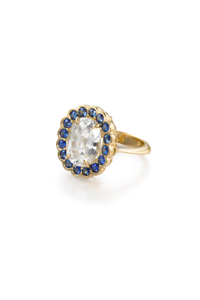 Ray Griffiths - 18K Yellow Gold White Zircon & Sapphire Ring