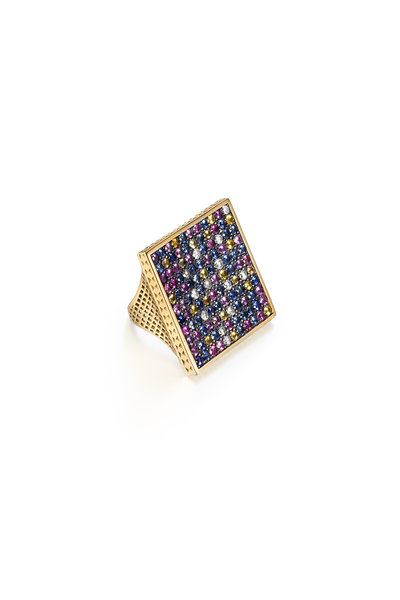 Ray Griffiths - 18K Yellow Gold Sapphire & Diamond Ring