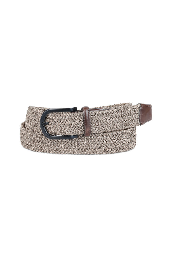 Torino Khaki Woven Stretch Braided Belt