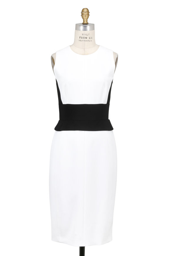 Narciso Rodriguez Black & White Crêpe Fitted Sleeveless Dress