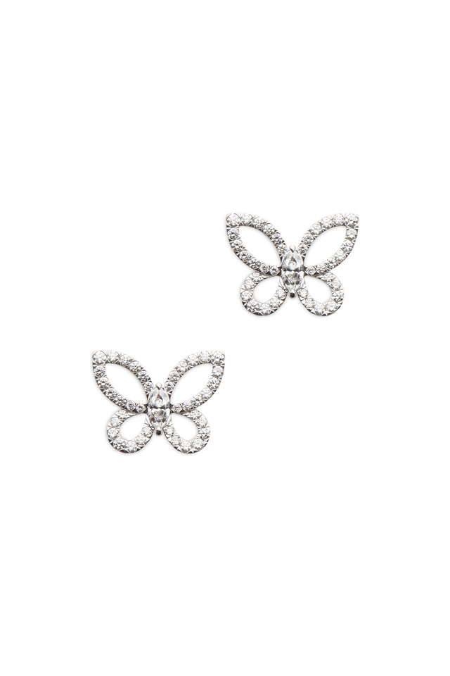 White Gold Marquise-Cut Diamond Butterfly Earrings