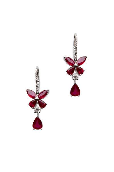 Graff - White Gold Ruby & Diamond Butterfly Earrings