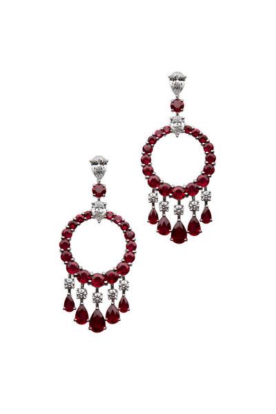 Graff - White Gold Ruby & Diamond Mini Gypsy Earrings