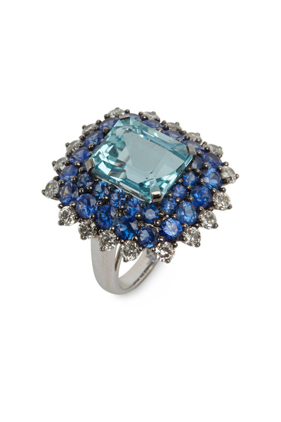 Nam Cho - Aqua & Blue Sapphire Diamond Cocktail Ring