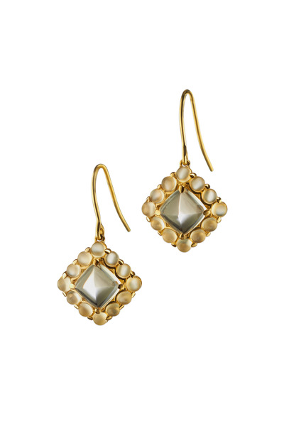 Monica Rich Kosann - Yellow Gold Sugarloaf Moonstone Drop Earrings