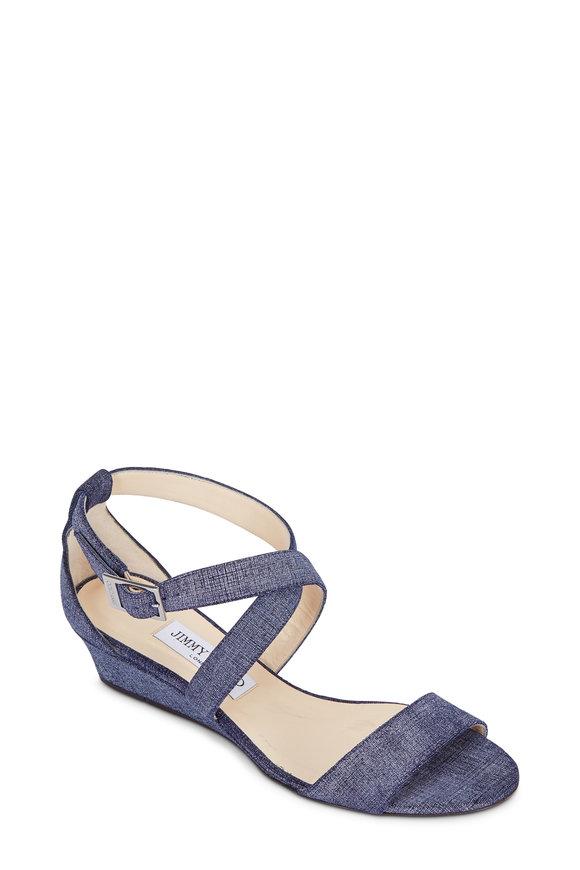 Jimmy Choo Chiara Denim Effect Wedge Sandal, 35mm