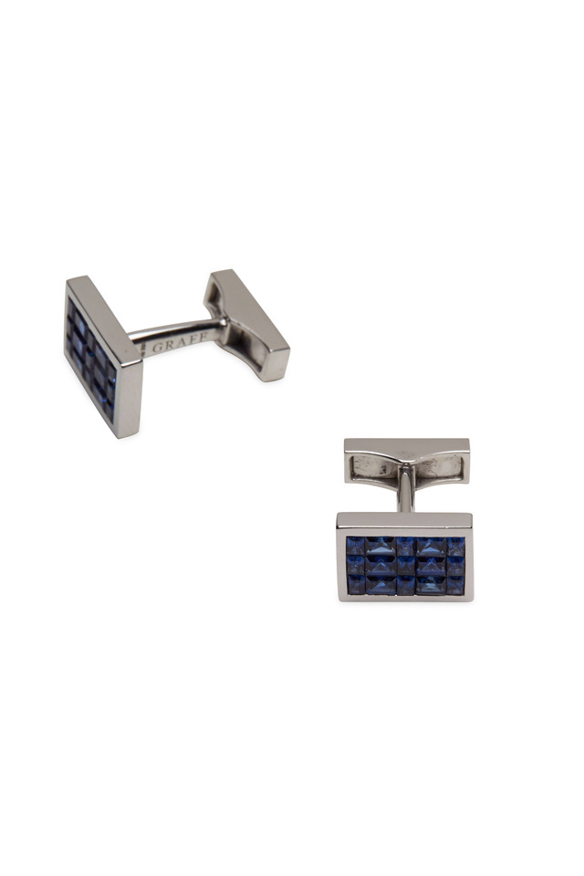 White Gold Blue Sapphire Cuff Links