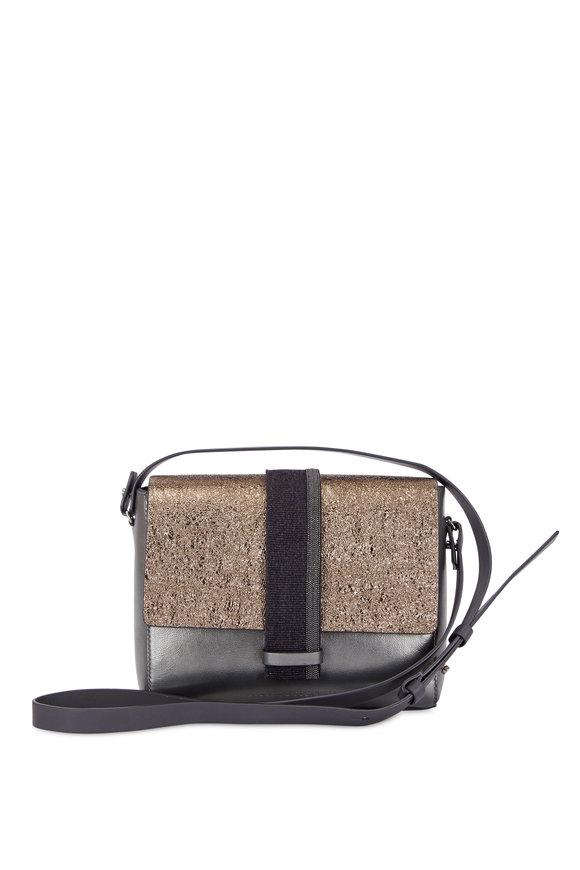 Brunello Cucinelli Silver & Metallic Leather Small Shoulder Bag