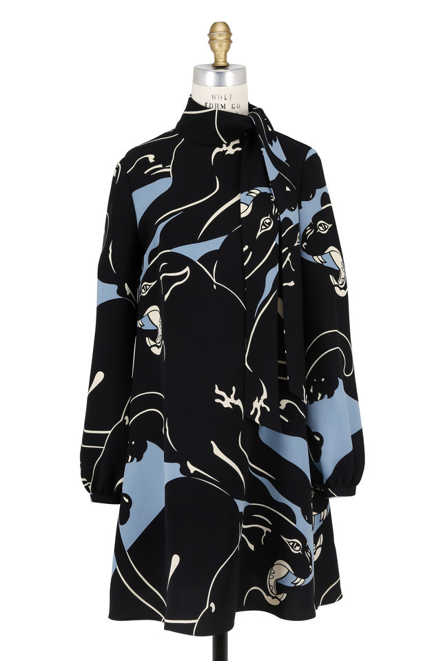 Black Silk Panther Print Long Sleeve Dress