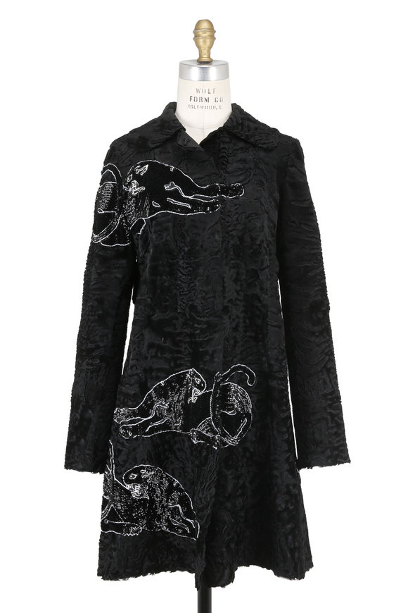 Valentino Black Persian Lamb Panther Embroidered Coat