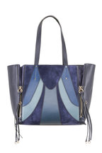 Chloé - Milo Blue Suede & Leather Patchwork Tote