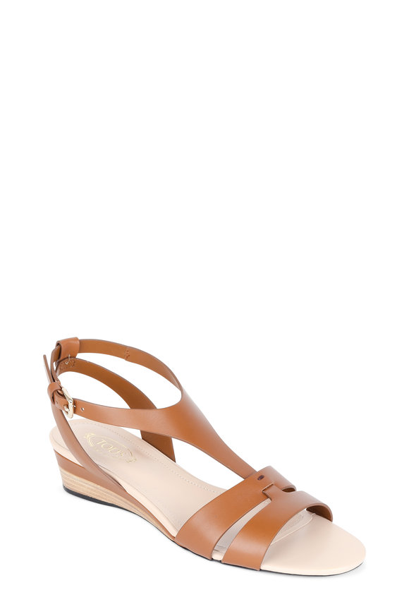 Tod's Cognac Leather T-Strap Wedge Sandal, 35mm