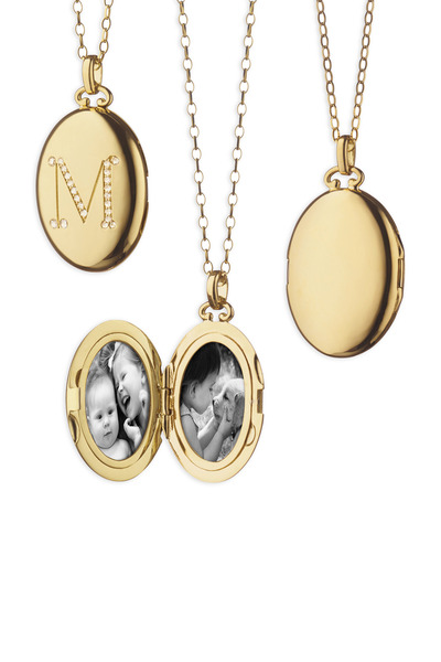 Monica Rich Kosann - Yellow Gold Crystal Cognac Mother Of Pearl Locket