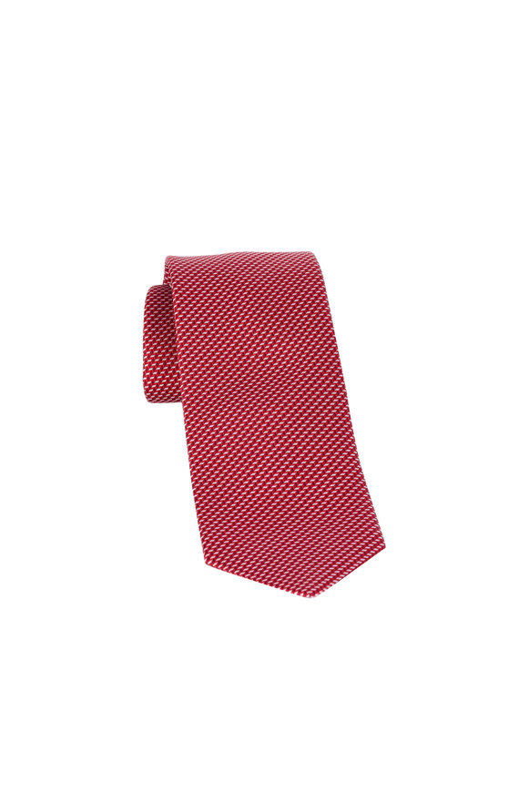 Eton Red Neat Pattern Silk Necktie
