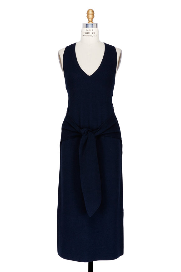 Rag & Bone Michelle Navy Tie-Waist Sweater Dress
