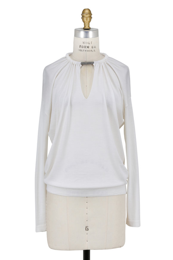 Brunello Cucinelli White Cashmere Gathered Monili Collar Sweater