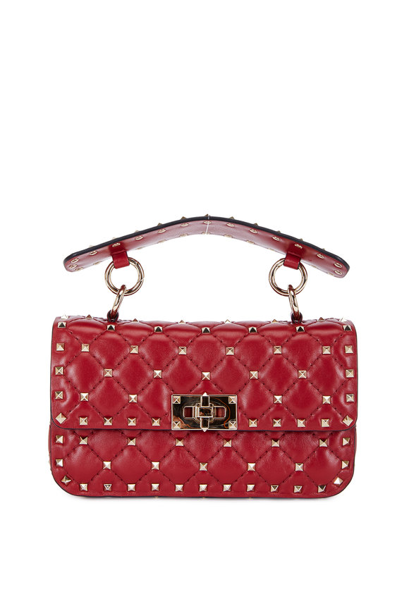 Valentino Rockstud Red Quilted Leather Small Chain Bag