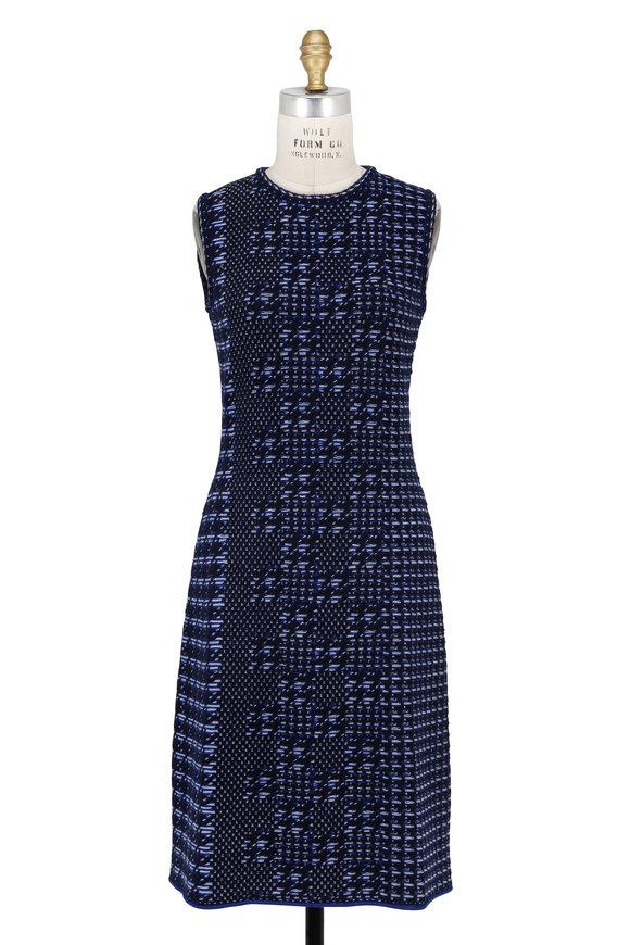 Oscar de la Renta Navy Jacquard Knit Sleeveless Dress