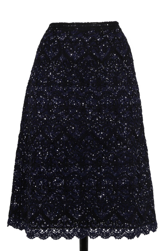 Oscar de la Renta Black & Blue Lace Pailette Skirt
