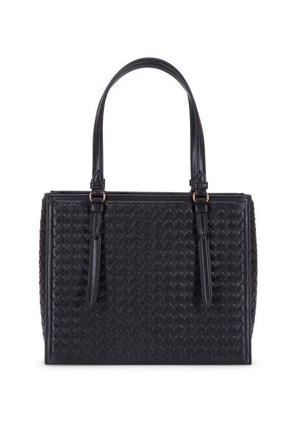 Bottega Veneta Black Intrecciato Leather Tote Bag