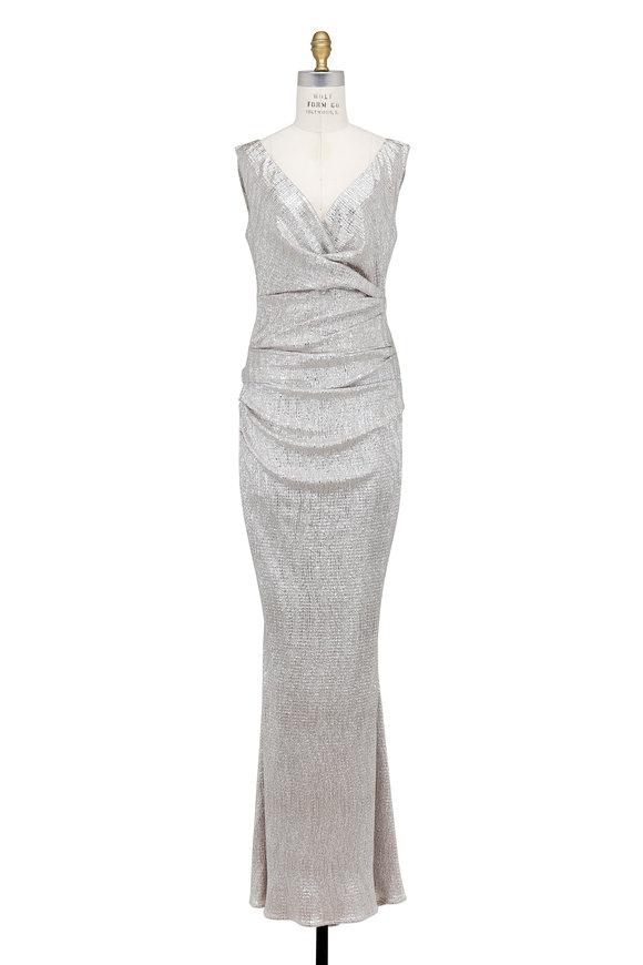 Talbot Runhof Metallic Gold Stretch Cloqué Sleeveless Gown
