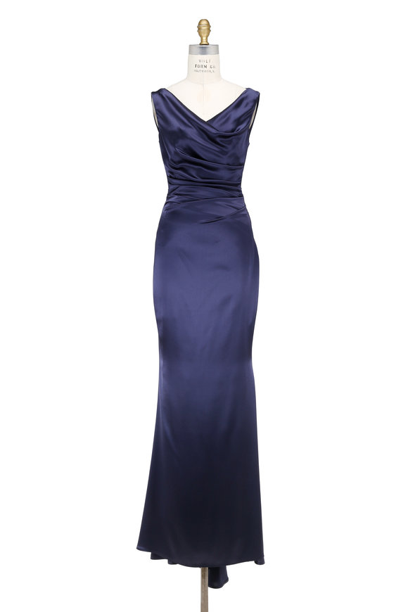 Talbot Runhof Kombo Midnight Blue Crêpe Sleeveless Gown