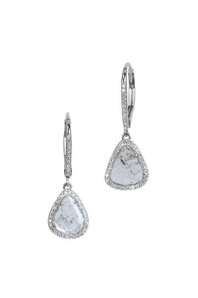 Kai Linz - White Gold Diamond Slice Earrings