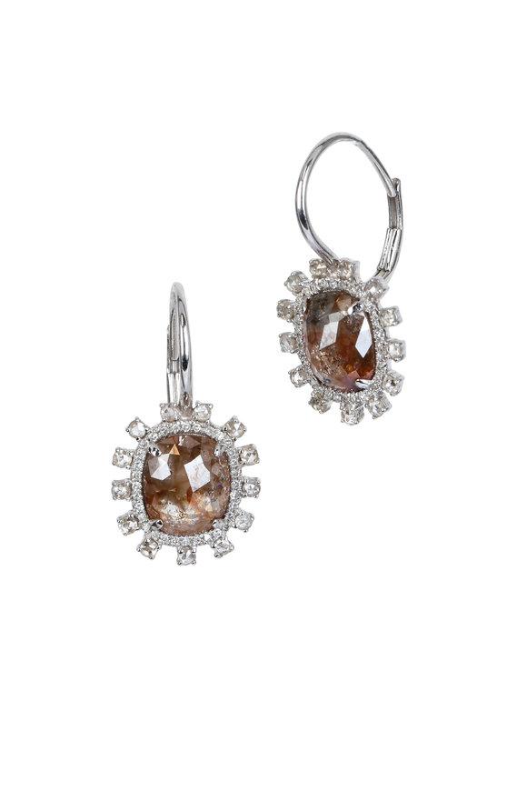 Kai Linz White Gold Brown Diamond Earrings