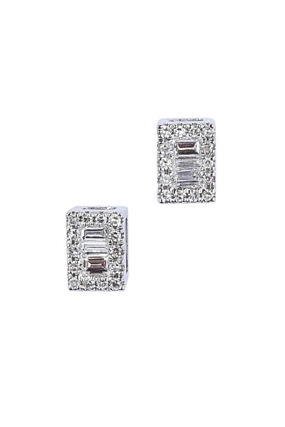 Kai Linz White Gold Diamond Square Earrings