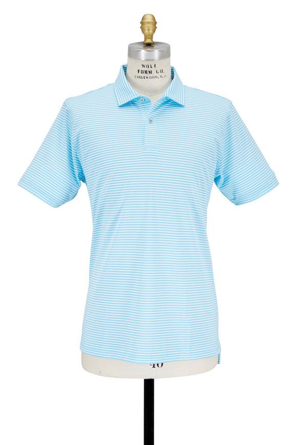 Zero Restriction  Bermuda Blue & White Striped Performance Polo