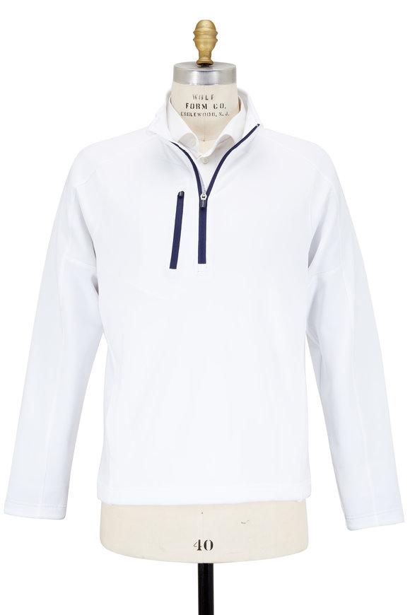 Zero Restriction  Z500 White & Navy Blue Quarter-Zip Pullover