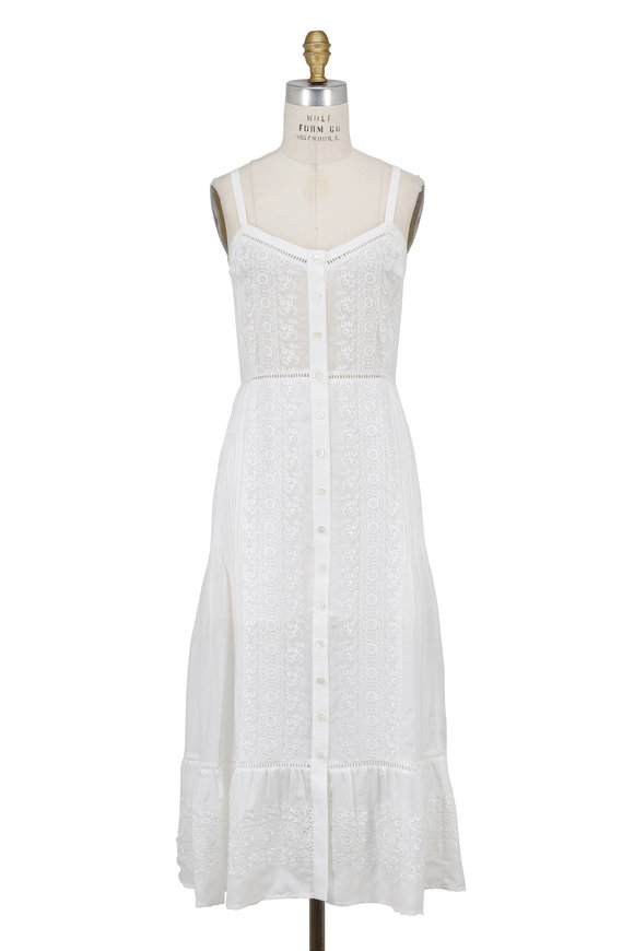 Veronica Beard Joni Off-White Embroidered Eyelet Midi Dress