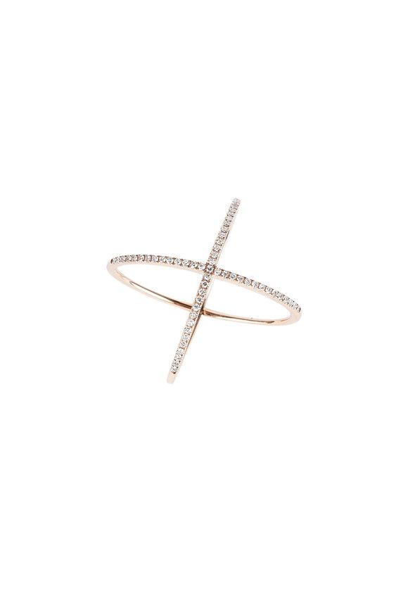Kai Linz 14K Rose Gold Diamond X Ring