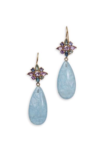 Emily & Ashley - Multi Color Sapphire & Aquamarine Earrings