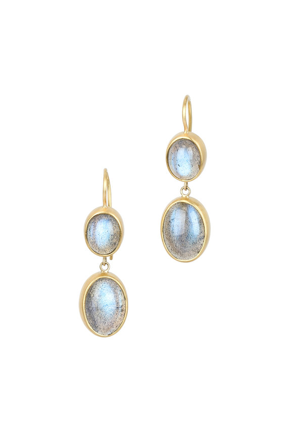 Caroline Ellen 22K Yellow Gold Labradorite Drop Earrings